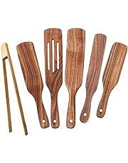 Rekuopl 6 stuks kookgerei set natuur teak keuken hout kookgerei set spatel gleuf spatel