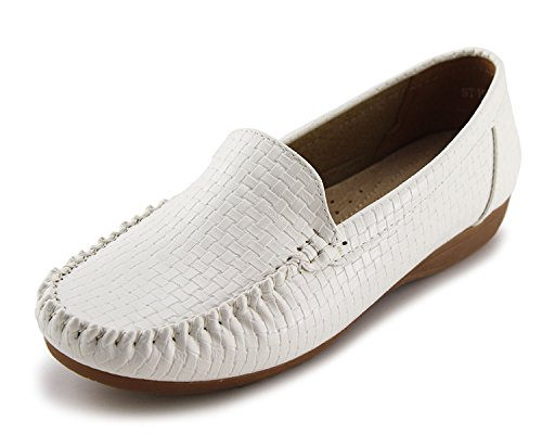 Jabasic Women's Slip-on Loafers Flat Casual Driving Shoes(8, White)