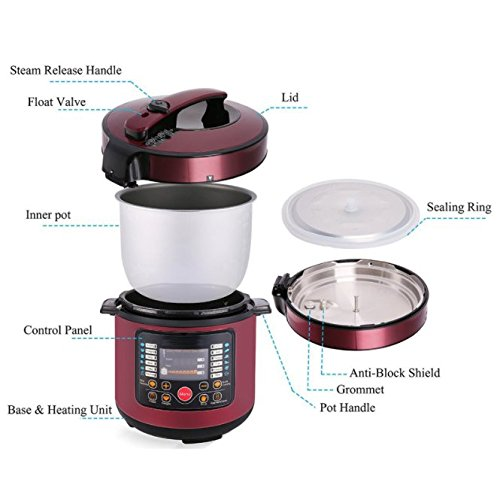 Electric Pressure Cooker, Multi-Use High Power Ricer Cooker with Lock Top Lid, Adjustable Timer, Stainless Steel Housing and Cooking Accessories for Multiple Recipes