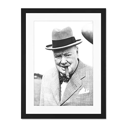 Doppelganger33 LTD Vintage Winston Churchill Cigar Prime Minister Large Art Print Poster Wall Decor 18x24 inch Supplied Ready to Hang with Included Mount Brackets