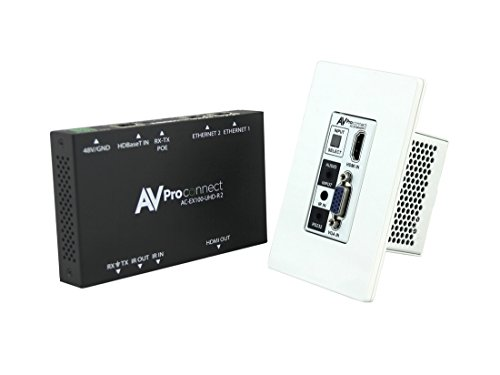 Rs 232 Wall Plate - AVProconnect AC-EX100WPP-UHD-KIT HDMI Wall Plate Extender (Transmitter/Receiver) Kit with HDBaseT/VGA/3.5mm Audio/RS 232/IR