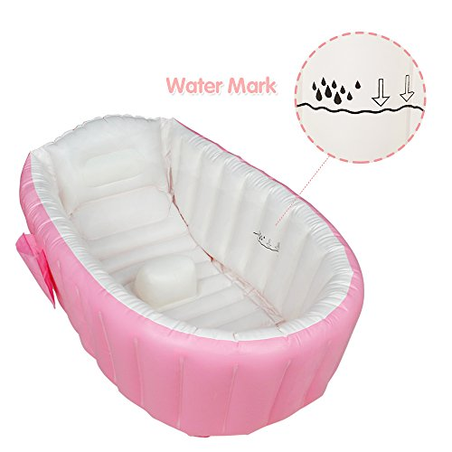 Shower Inflatable (Baby Bath Tub Inflatable Large Capacity Plastic Air Swimming Pool Kids Thick Foldable Shower Basin, Pink)