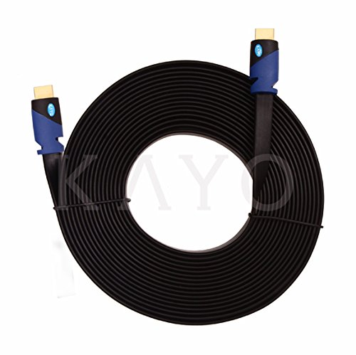 Cl3 Rated Component Video Cable - FLAT HDMI Cable - 25 FT, High Speed HDMI Cable (7.6m) Flat Wire - CL3 Rated Supports 4K, Ultra HD, 3D, 2160p, 1080p, Ethernet and Audio Return (Latest HDMI 2.0b Standard) HDCP 2.2 Compliant - 25 FEET