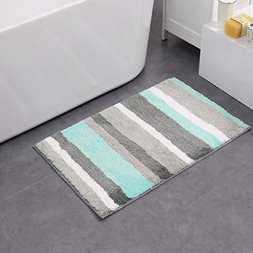Uphome Striped Bathroom Rug, Colorful Microfiber Non-Slip Soft Decorative Bath Rugs Doormat Kitchen Floor Mat (19 W x 31 L, Aqua)