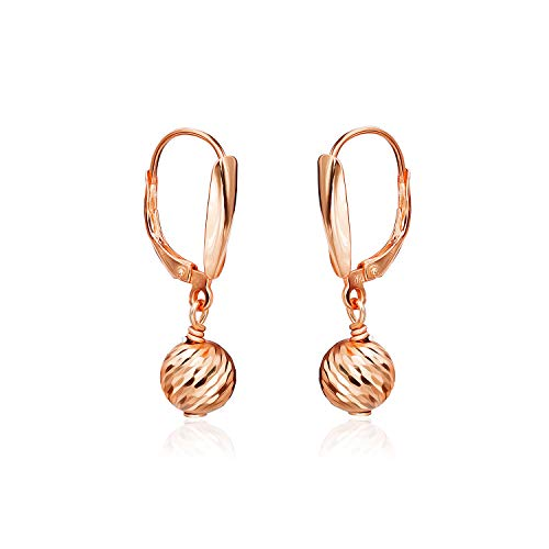 (Sea of Ice Rose Gold Flashed Sterling Silver Diamond-Cut 8mm Ball Beads Leverback Drop Dangle Earrings)