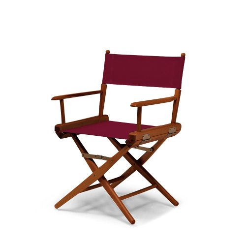 Burgundy Plastic Folding Chair (Telescope Casual World Famous Dining Height Director Chair, Burgundy with Walnut Frame)