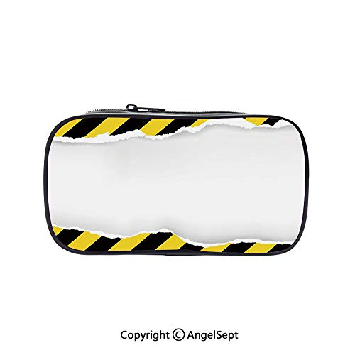 Cute Pencil Case - High Capacity,Ripped Paper with Construction Sign Safety Warning Alert Framework Decorative Yellow Black White 5.1inches,Multifunction Cosmetic Makeup Bag,Perfect Holder for -