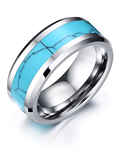8mm High Polished Tungsten Carbide Wedding Band Rings For Men With Turquoise Beveled Edge Comfort (Black Magic Titanium Tire)