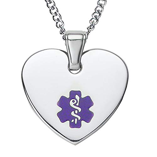 Divoti Free Deep Custom Laser Engraved-Heart Tag Medical Alert ID Pendant Necklace for Women w/Free Engraving -24