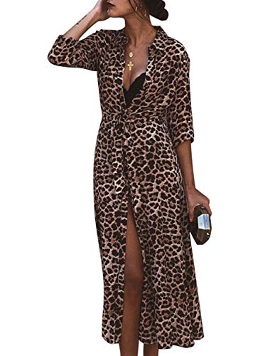 - ZENUTA Women's Deep V Neck Long Split Leopard Print Empire Waist Sexy Club Dress Yellow
