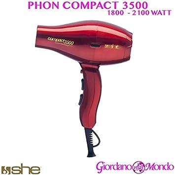 Secador Pelo Secador Peluquería 3500 Compact 1800 - 2100 W She profesional rojo: Amazon.es: Belleza
