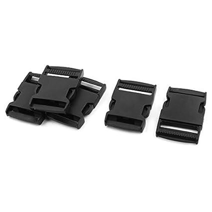 eDealMax Cinturón de plástico correa plana lanzamiento del lado de la hebilla de 1, 5 pulgadas dentro Ancho 5 conjuntos negros - - Amazon.com