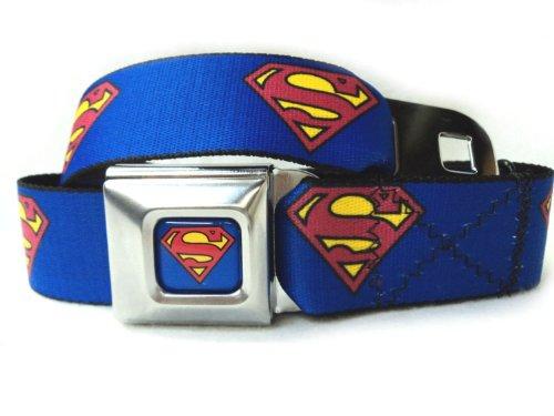 Superman Fashion Belt (Buckle Down Unisex Superman Seatbelt Belt, Blue,)