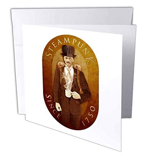 3dRose Boehm Graphics Illustration - Steampunk - 12 Greeting Cards with envelopes (gc_12656_2)