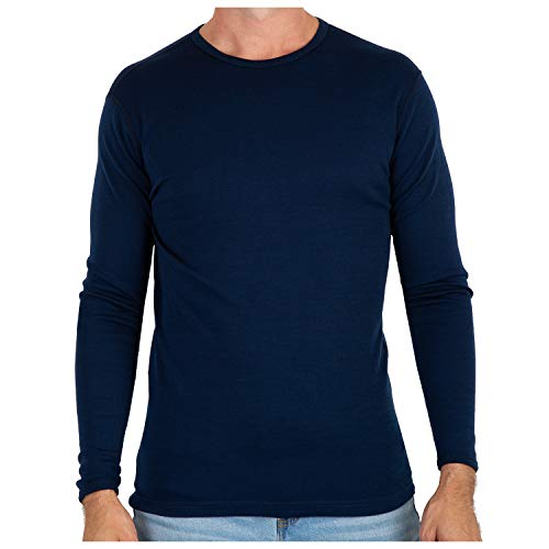 Sweater T-shirt Wool - MERIWOOL Men's Merino Wool Midweight Baselayer Crew - Navy/L