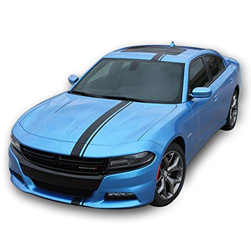 Bubbles Designs Decal Sticker Graphic Front to Back Stripe Kit Compatible with Dodge Charger SRT Hellcat -