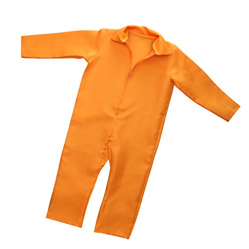 Jili Online Kids Orange Prisoner Overall Jumpsuit Convict Stag Do Party Fancy Dress Costume (Orange Jumpsuit Costumes)