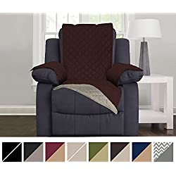 """Sofa Shield Original Reversible Couch Slipcover Furniture Protector, Seat Width Up to 28"""", 2 Inch Strap, Machine Wash, Slip Cover Throw for Pets, Dogs, Kids (Recliner: Chocolate/Beige)"""
