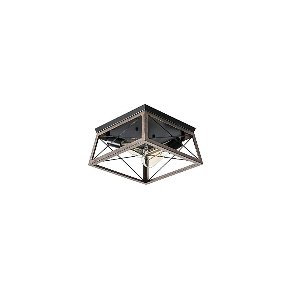 Industrial Ceiling Light, Hallway Light Fixtures Ceiling, 2-Light Farmhouse Ceiling Light, Farmhouse Semi Flush Mount…