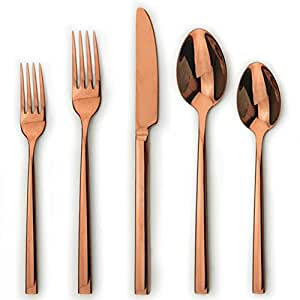 stainless steel flatware set in 4 sharp colors rose gold silver gold black 5. Black Bedroom Furniture Sets. Home Design Ideas