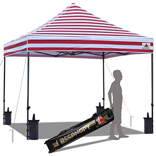 (ABCCANOPY Pop up Canopy Tent Commercial Instant Shelter with Wheeled Carry Bag, Bonus 4 Canopy Sand Bags, 10x10 FT (Thin Stripe RED))
