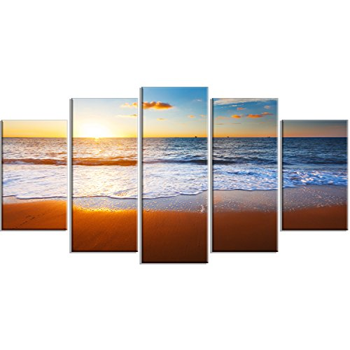 Design Art PT14769-60-32-5PD Blue Sea & Sky with Sandy Beach - Modern Seashore Canvas Wall Art Print,60x32-5 Panels Diamond Shape