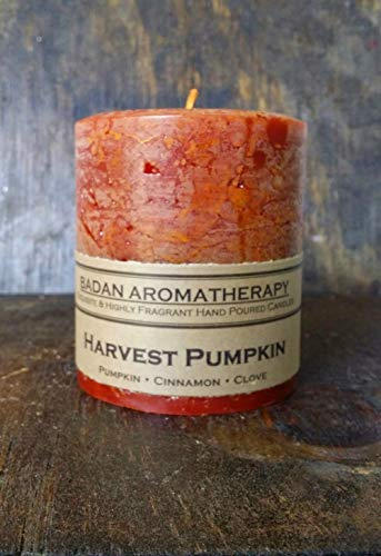 (Badan Harvest Pumpkin Cinnamon Clove Scented Pillar Candle, Dark Orange 3