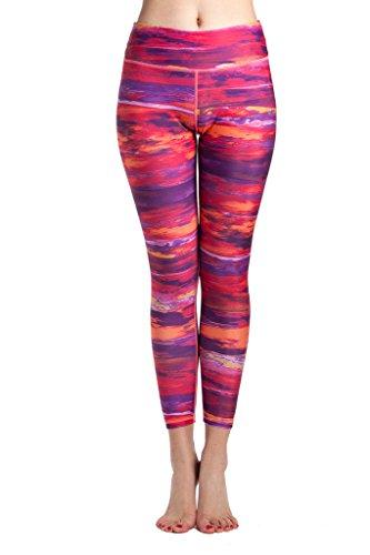 Lotus Instyle Mujeres Pantalones Deportivos Athletic Gym Entrenamiento Fitness Yoga Leggings Pantalones Arco iris