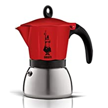 Bialetti Moka - Stove Top Espresso Maker - Induction Suitable - Aluminium & Stainless Steel - Red - 3 Cups