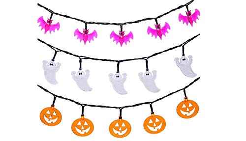 Set of 3 Halloween String Lights,20 LED Battert Operated String Lights Pumpkin/Ghgost/Bat -Perfect for Halloween Outdoor Yard Party Decorations