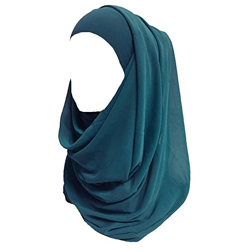 Lina & Lily Solid Color Thick Chiffon Muslim Hijab Long Scarf (Teal Green)