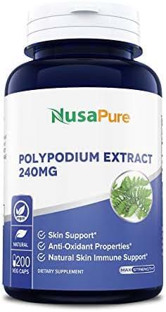 Polypodium Leucotomos Extract 240mg 200 Veggie Capsules (Vegetarian, Non-GMO & Gluten Free) Antioxidant Properties, Natural Skin Care Supplement
