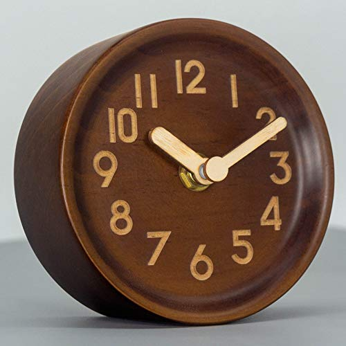 AROMUSTIME 4-Inches Round Wooden Desk Clock with Arabic Numerals Non-Ticking Silent Battery Operated, Brown (Clock Round Table)