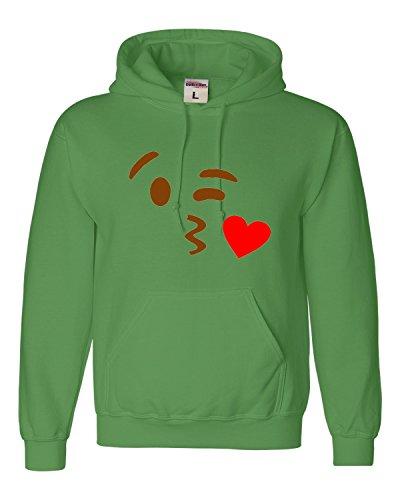 (Small Irish Green Adult Kissy Face Emoji Emoticon Sweatshirt)