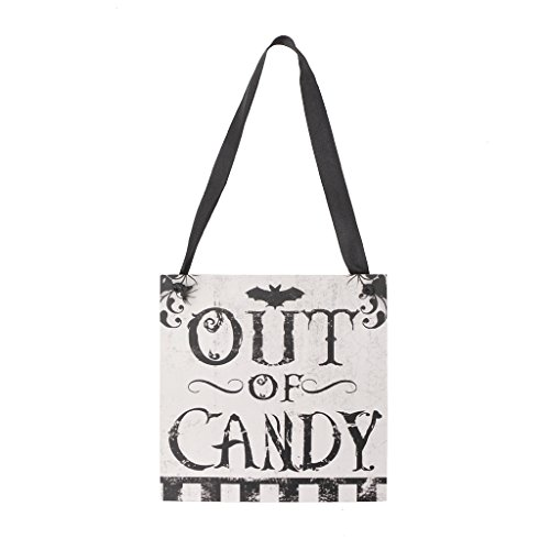 Best-topshop Halloween Hanging Sign Board, Wooden Decoration Party Favor Decor Ornament for Home Room Wall Door Window (4-out of candy) (Halloween Door Music For Kids)