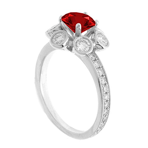 (14K White Gold 7/8ct TDW Floral Diamond Engagement Ring With 3/4ct Garnet Round Center (G, SI1-VS2))