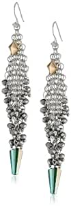 Steve Madden Mesh and Faceted Bead Chandelier Drop Earrings