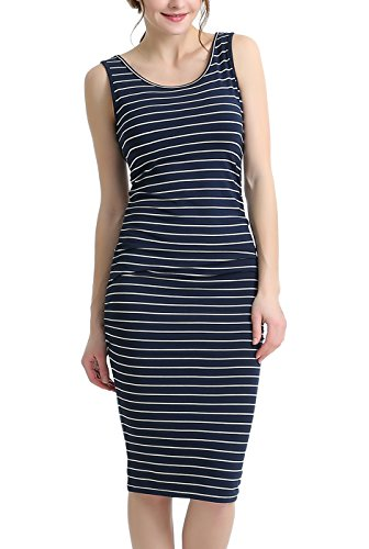 phistic Women's Striped Ruched Midi Dress - Navy/Ivory M ()