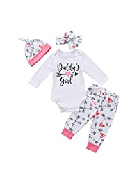 4Pcs Baby Girl Daddy's Girl Romper+Arrows Pants+Hat+Headband Outfit Clothes Set