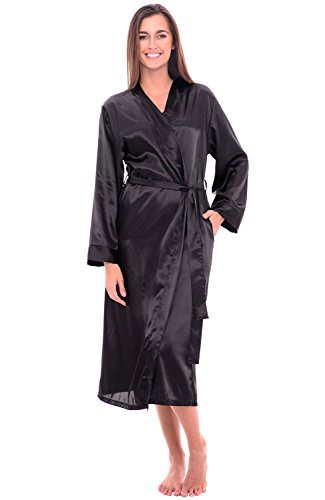 Alexander Del Rossa Womens Satin Robe, Long Dressing Gown, Small Black (A0755BLKSM) - Black Dressing Gown