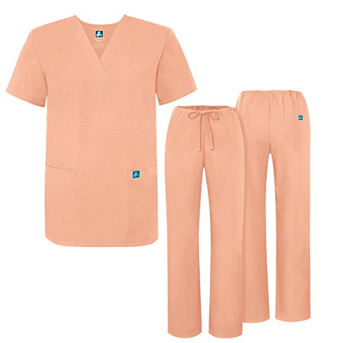 Adar Universal Medical Scrubs Set Medical Uniforms - Unisex Fit - 701 - PCH -M Peach