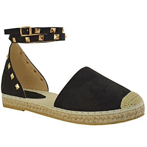 mujer chica Alpargatas Tobillo De Tiras Sandalias planas de verano Piedra Corchete Zapatos número Negro Ante Artificial