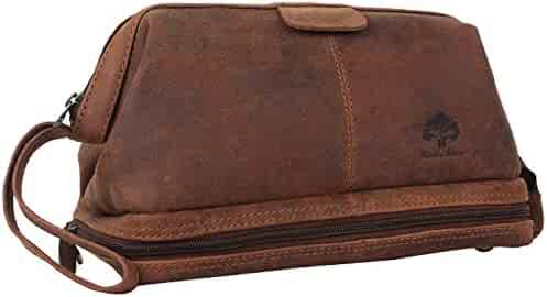 969cbc435baa Genuine Leather Travel Cosmetic Bag - Hygiene Organizer Dopp Kit By Rustic  Town