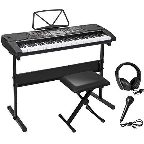 ZENY 61 Key Portable Electronic Keyboard Piano with Built in Speakers, Headphones, Microphone, Piano Stand and Stool