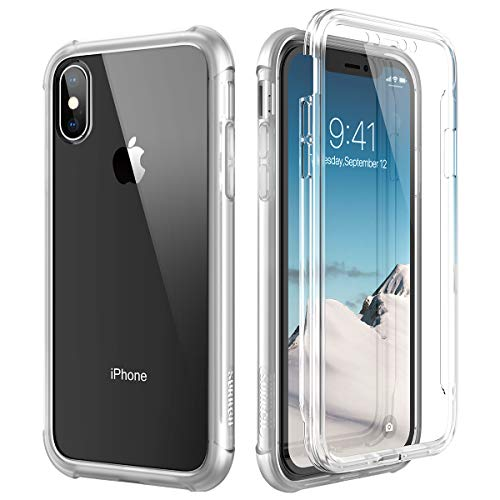 SURITCH Clear iPhone Xs Case/iPhone X Case, [Built-in Screen Protector] Full-Body Protection Hard PC Bumper + Glossy Soft TPU Rubber Gel Shockproof Cover for iPhone Xs/iPhone 10 (Clear) (Iphone X Case Best Protection)