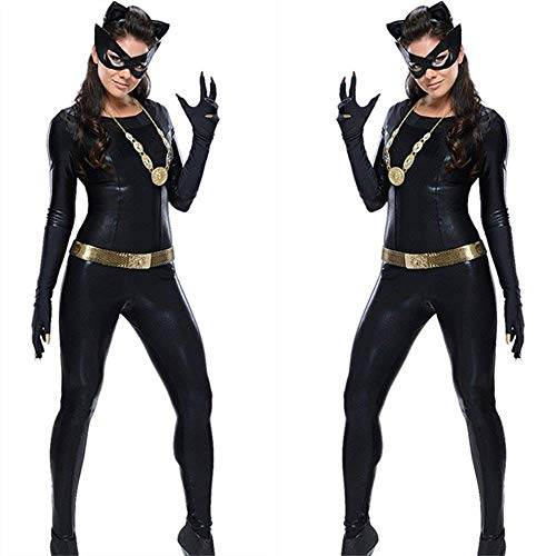 (Sexy Women's Lingerie Wet Look Patent Leather Imitation Leather PVC Siamese Outfit Halloween Clothing Cat Girl Cat Outfit Cosplay)