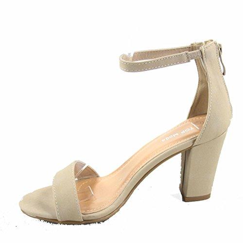 Strap High Fashion Shoes Heel Women's Sandal Beige Moda Top Ankle Evening Dress nwqaFpISWx