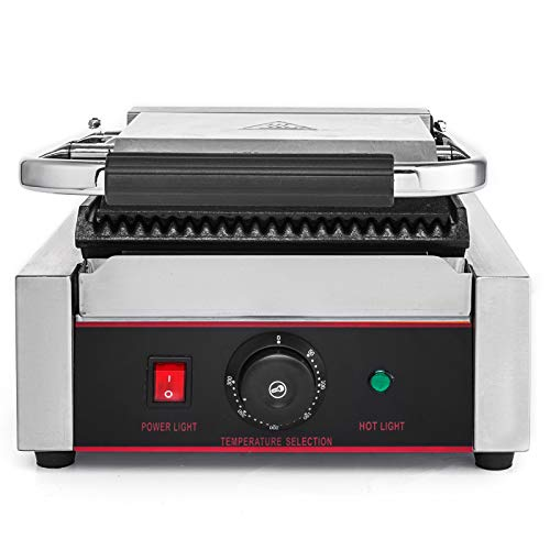Happybuy Sandwich Press Grill 110V Panini Maker and Grill 1800W Commercial Panini Grill Durable Stainless Steel Construction with Adjustable Temperature Control Cooking Non Stick Surface Grooved Plates by Happybuy (Image #3)