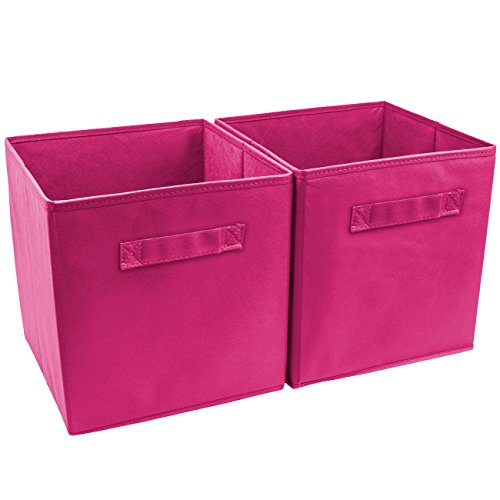 Sorbus Foldable Storage Cube Basket Bin (2 Pack, Pink)