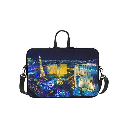 Paris Las Vegas Hotel Casino - Las Vegas Avenue Nevada USA Night Pattern Briefcase Laptop Bag Messenger Shoulder Work Bag Crossbody Handbag for Business Travelling
